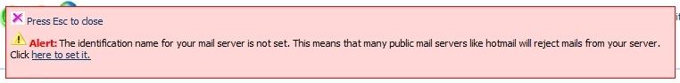 Mensagem de erro na configuração do servidor de email