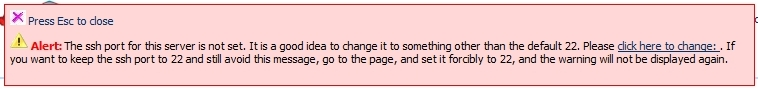 Mensagem de erro de mudança da porta do SSH